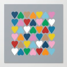 Up and Down Hearts on Grey Canvas Print