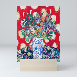 Wildflowers in a Lion Vase on Red Floral Still Life Painting After Matisse Mini Art Print