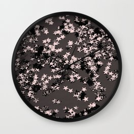 Blush Glitter Stars #2 #shiny #decor #art #society6 Wall Clock