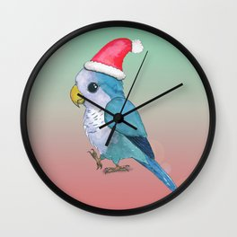 Cute blue Christmas parrot Wall Clock