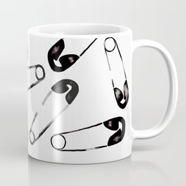 Scattered safety pin black ink on gray black border square format Coffee Mug