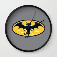 nightwing Wall Clocks featuring Nightwing by Steven Toang