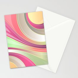 Abstract Swirls and Circles Pastel Retro Design Stationery Cards
