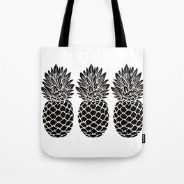 Pineapple Trio   Black and White Tote Bag