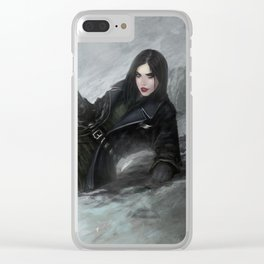 Gunslinger - Badass girl with gun in the snow Clear iPhone Case