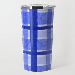 Tissue Paper Plaid - Blue Travel Mug