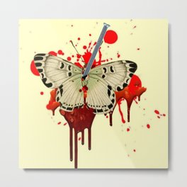HUMOROUS SURREAL NAILED BLEEDING VAMPIRE BUTTERFLY Metal Print
