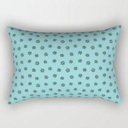 Teal Flower Doodles Rectangular Pillow