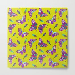 Lime Green and Butterflies Metal Print