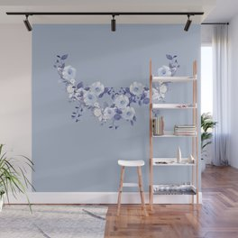 Blue and White Delicate Floral Vine Wall Mural