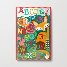 Whimsical Fox and Squirrel Woodland Alphabet Metal Print