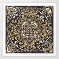 black and gold Art Prints featuring Black & Gold by Paula Savage