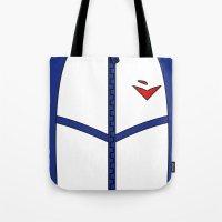 iwatobi Tote Bags featuring Free Iwatobi Swim Club Team Jacket by Bunny Frost