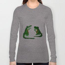 Funny Crocodile Talking to Alligator Art Long Sleeve T-shirt