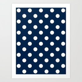 Polka Dots - White on Oxford Blue Art Print
