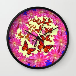 Blue & Yellow Butterflies  Pink Flowers Pattern Art Wall Clock