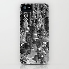 Indian Hanging Prayer Bells, India, Grey scale iPhone Case