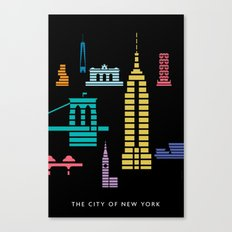 New York Skyline Empire State Poster Black Canvas Print