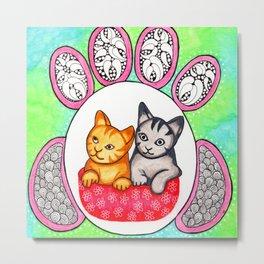 Watercolor Doodle Art   Cats! Metal Print