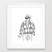 eddie vedder Framed Art Prints featuring eddie by Panic Junkie