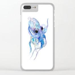 Ocotpus, sea world underwater scene, beach house art Clear iPhone Case