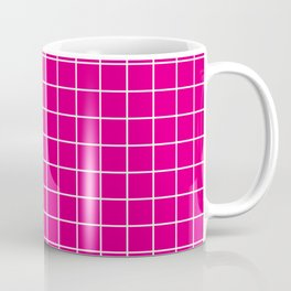 Mexican pink - fuchsia color - White Lines Grid Pattern Coffee Mug