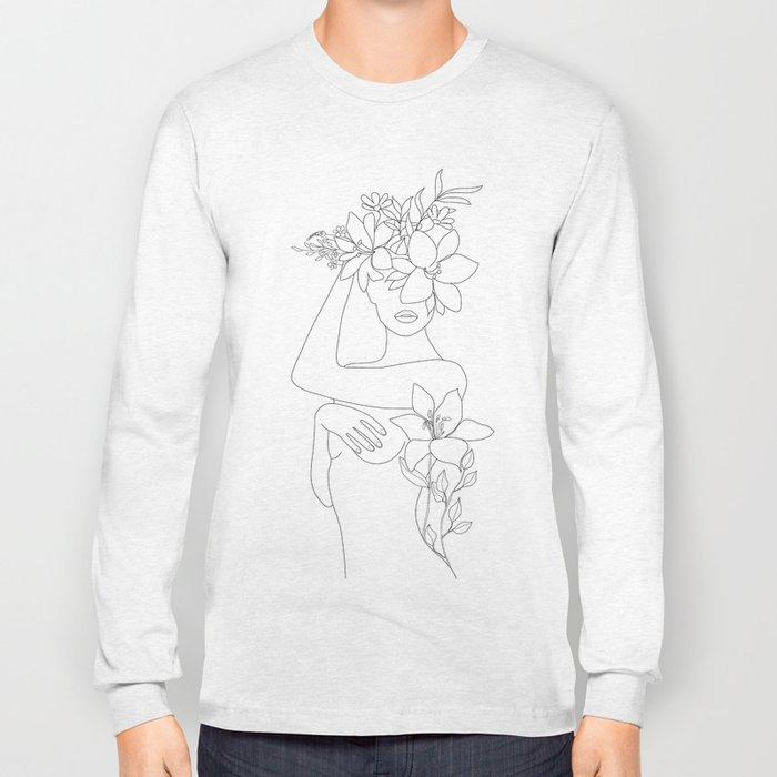 Minimal Line Art Woman with Flowers VI Long Sleeve T-shirt