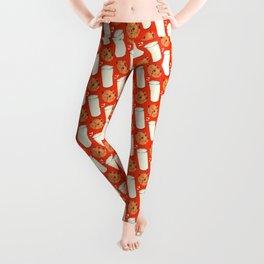 Milk & Cookies Pattern - Red Leggings