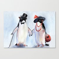 penguin Canvas Prints featuring Penguin by Anna Shell