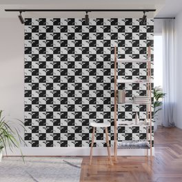 Black and White Checkerboard Scales of Justice Legal Pattern Wall Mural