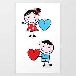 New in shop : Love Kids illustrations / blue red Art Print