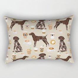 German Shorthair Pointer dog breed custom pet portrait coffee lover pet friendly gifts Rectangular Pillow