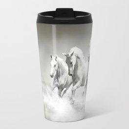 Wild White Horses Travel Mug