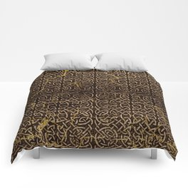 Celtic Wood Pattern with Gold Accents Comforters