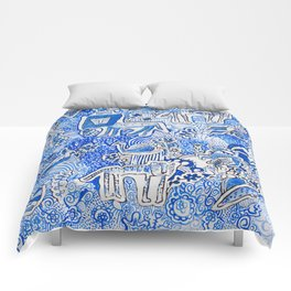 Delft Blue and White Pattern Painting with Lions and Tigers and Birds Comforters