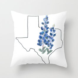 texas // watercolor bluebonnet state flower map Throw Pillow
