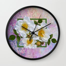 White Flowers with Inset Wall Clock