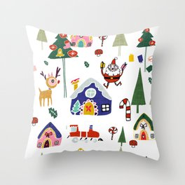 Santa Claus White #Christmas #Holiday Throw Pillow