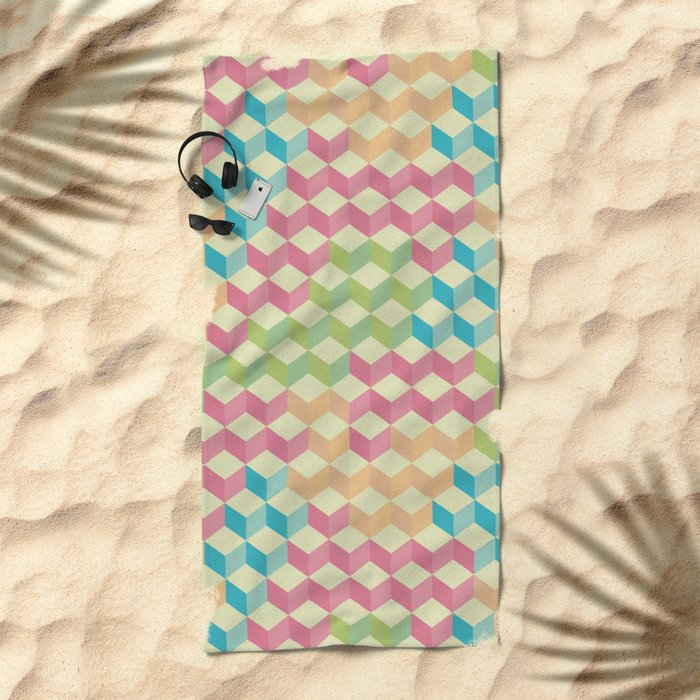 Sugar Cubes Geometric Pattern Beach Towel
