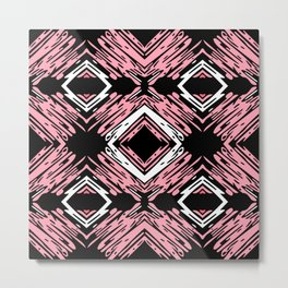 Pink + Black Diamond Horizontal Pattern Metal Print