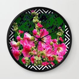 Fuchsia Pink Rose Color Holly Hocks Pattern Floral Art Wall Clock