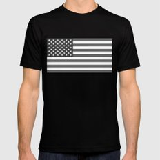 American flag in Gray scale Black MEDIUM Mens Fitted Tee