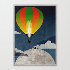 Picnic in a Balloon on the Moon Canvas Print