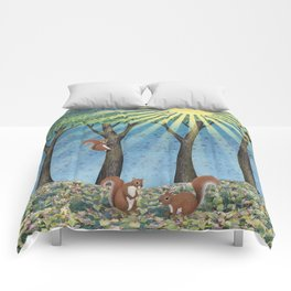 sunshine squirrels Comforters