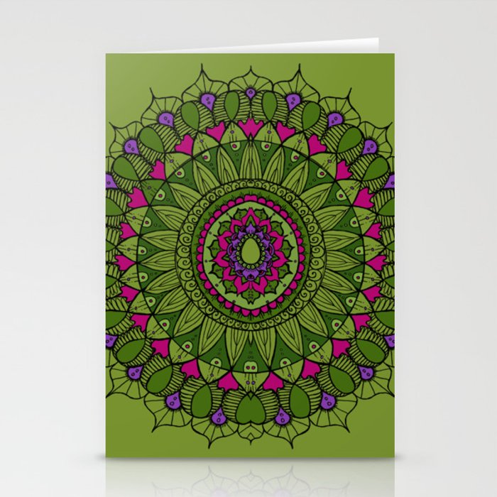 Bohemian Mandala in Green with Pink and Purple Stationery Cards