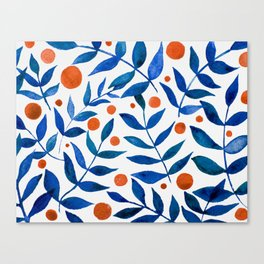 Watercolor berries and branches - blue and orange Canvas Print