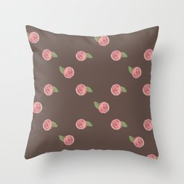 Cute watercolor pink roses with leaves Throw Pillow