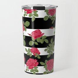 Red roses with horizontal stripes black white Travel Mug
