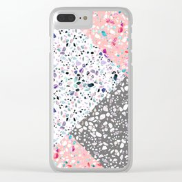 Terrazzo Geometric Clear iPhone Case