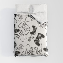 Video Games Black on White Comforters